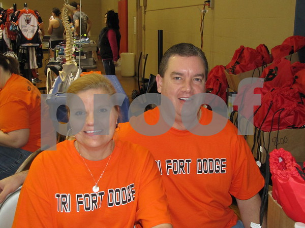 Tracy and Kevin McCormick greeted visitors and athletes to the Indoor Tri event.