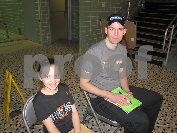 Tayte Specht and Heath Briggs at the Indoor Tri-athlon at Fort Dodge REC center.