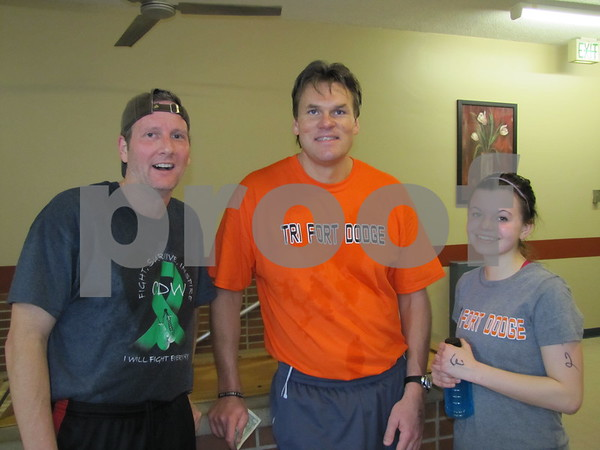 Chris Knobbe, Jim DeBoer, and Linnea Newell after participating in the Indoor Tri-athlon at the Fort Dodge REC center.