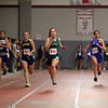 Nashoba Regional High School senior (#445) Michaela Pelland leads the pack in the 50 meter dash as she competes in the Don Woods Memorial Invitational meet at Fitchburg High School on Saturday. SENTINEL & ENTERPRISE/ JOHN LOVE