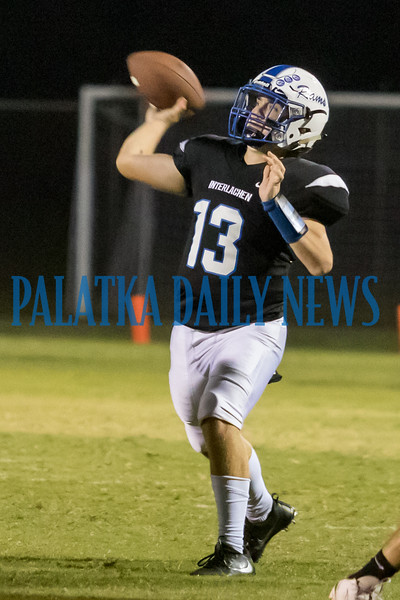 Interlachen senior Kaleb Wiggins (13) launches a pass in the second half of the game with Bell. Fran Ruchalski/Palatka Daily News