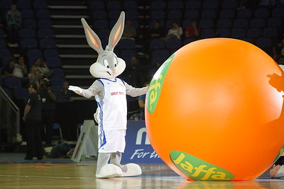 Bugs Bunny explains that the ball won't fit the basket during the Great Brittan Basketball tournament at the 02 Arena on 2009