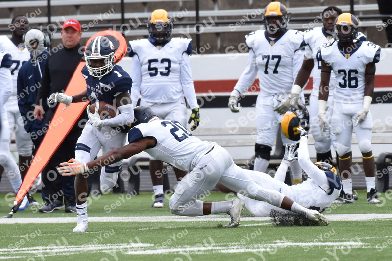 -Messenger photo by Britt Kudla<br /> Emmanuel Logan-Greene of Iowa Central gains a first down after a catch against Highland on Saturday