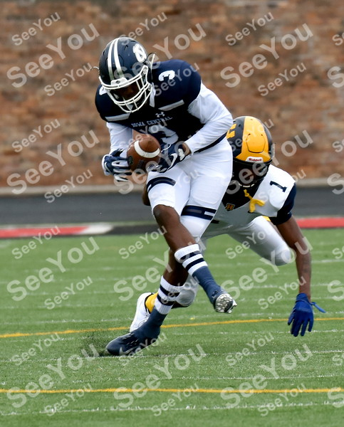 -Messenger photo by Britt Kudla<br /> Kevaughn Dingle of Iowa Central makes a catch for a few yards against Highland on Saturday