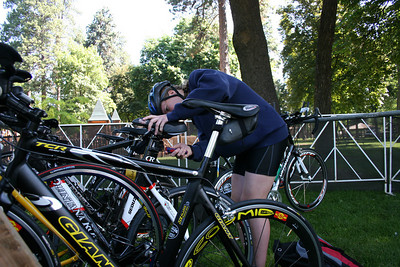 Pre-race bike maintenance.