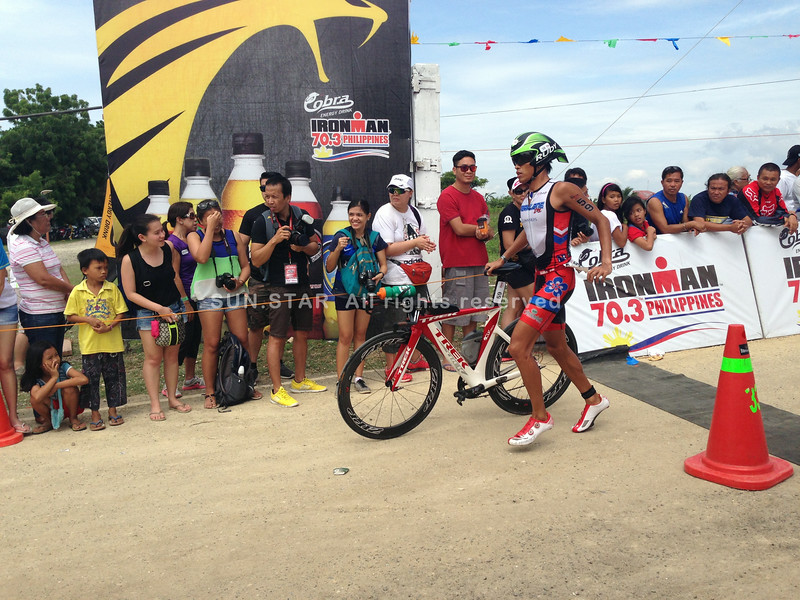 Filipino elite Kristiane Glendale Lim finishes the bike race