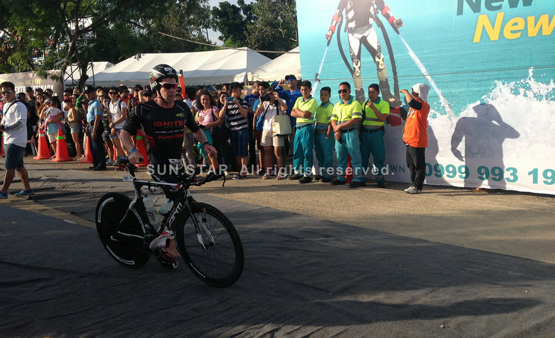 Cameron Brown starts the bike leg of the Ironman 70.3 Philippines 2014