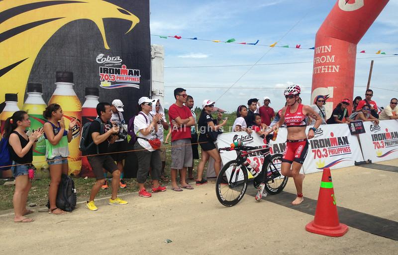 Caroline Steffen finishes the bike race