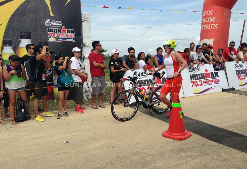 Dimity-Lee Duke finishes the bike race