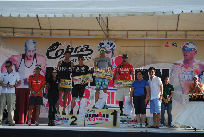 CEBU. The top 5 winners in the Ironman 70.3 Philippines pro men division receive their awards.