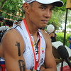 CEBU. Filipino elite Arland Macasieb at the finish line.