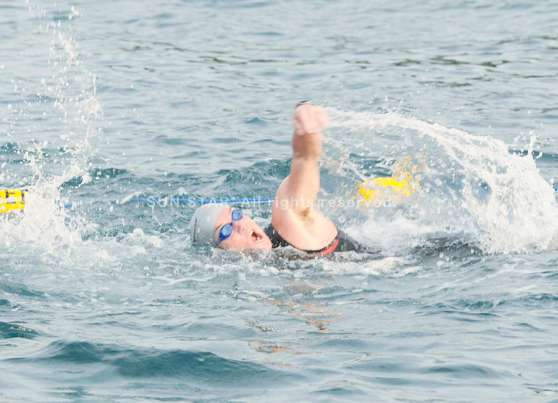 A participant competing in the swim leg of the Cobra Energy Drink Ironman 70.3 Philippines in Cebu. (Sun.Star Photo/Allan Cuizon)