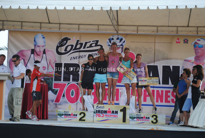 CEBU. The top 5 winners in the Ironman 70.3 Philippines pro women division receive their awards.