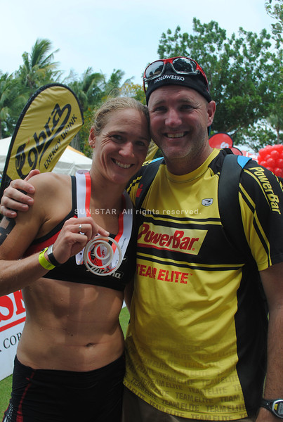 CEBU. Amanda Stevens-Sadler with husband Randy Sadler at the finish line.