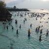 CEBU. Participants of Ironman 70.3 Philippines doing some swim warm ups hours before the 1.9-km swim race started Sunday.