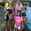 CEBU. Team Matteo's Amale Jopson and Lohriz Echavez Lopez, who won the all women relay category in 5:14, pose with their babies after the Ironman 70.3 race.