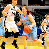 Christopher Aune | The Herald-Tribune<br /> Lady Eagle Rosie Newhart was up against the 6-foot Kaelyn Barlow through the game and found ways to score.
