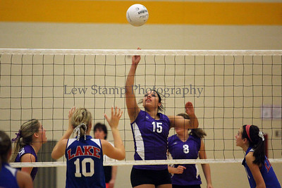 Jackson High School's Britney Terrell taps one back over the net to Lake High School  on October 6, 2009, in Jackson Township, Ohio.  By LewStampPhotography.smugmug.com