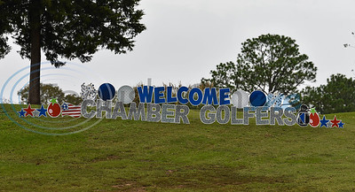 A welcome sign stands at the entrance to Cherokee Ranch Golf Club on Friday for the Jacksonville Chamber Golf Tournament and Golf Ball Drop.