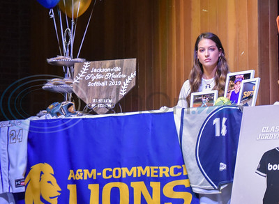 Jacksonville student-athlete Saylor Williams signs her letter of Intent to attend A&M Commerce on a softball scholarship on National Signing Day. The event took place at the high school auditorium on Wednesday, February 5. (Jessica T. Payne/Tyler Morning Telegraph)