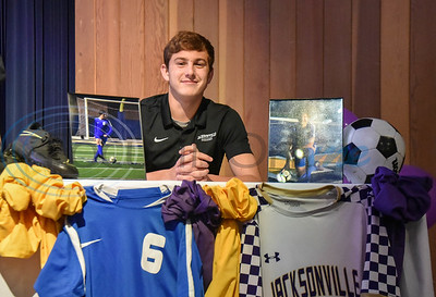 Jacksonville student-athlete Cooper Coughlin signs his Letter of Intent to attend Jacksonville College on soccer scholarship on National Signing Day. The event took place at the high school auditorium on Wednesday, February 5. (Jessica T. Payne/Tyler Morning Telegraph)