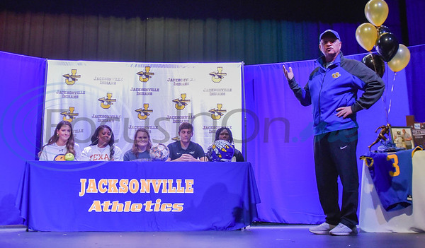 Jacksonville athletic director and head football coach Wayne Coleman speaks to a packed auditorium on National Signing Day where five Jacksonville student-athletes signed their Letter of Intent to attend their respective colleges. The event took place on Wednesday, February 5. (Jessica T. Payne/Tyler Morning Telegraph)