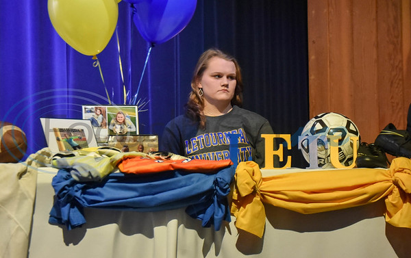Jacksonville student-athlete Kelsey Traylor signs her letter of Intent to attend LeTourneau University on a soccer scholarship on National Signing Day. The event took place at the high school auditorium on Wednesday, February 5. (Jessica T. Payne/Tyler Morning Telegraph)
