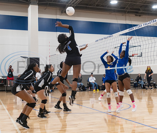 Tyler High School varsity volleyball player Takaisha Bowie-Hunter spikes the ball during their game at home in Tyler versus Jacksonville High School on Tuesday, Oct. 20, 2020.