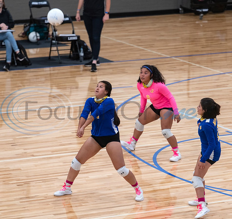 Jacksonville High School varsity volleyball player Angie Romero bumps the ball during their game against Tyler High School on Tuesday, Oct. 20, 2020.