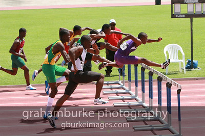 High school boys hurdling at the 2008 Boys Track & Field Championships in Kingston Jamaica. This is where it all begins. If you really want to see why the island produces such fast sprinters this is a must see event.