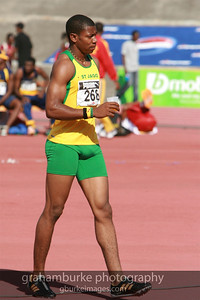 Yohan Blake - St. Jago High School (my old high school) @ 2008 Boys Championship in Kingston Jamaica. 2011 World Champion 100 Meters in a time of 9.92s and the second fastest 200M ever at 19.26s