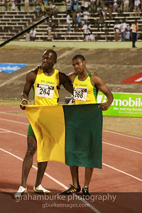 Nickel Ashmeade and Yohan Blake as schoolboys in 2008 celebrating finishing 1st & 2nd in the 200M. Now, 9.16.2011, both ran personal best in the 200M. Yohan ran the second fastest time ever at 19.26 and Nickel ran a PB of 19.91. Both sprinters have been doing this through every age group and there is a line of new sprinters lining up in Jamaica. Want to see them? Go to the high school track meet in March '12.