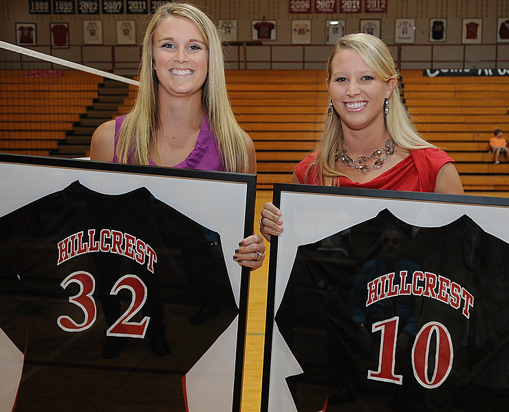 Hillcrest High School volleyball standouts Kelly Kirby and Jamie Lancaster had their jerseys retired in a ceremony at the school.<br /> GWINN DAVIS PHOTOS<br /> gwinndavisphotos.com (website)<br /> (864) 915-0411 (cell)<br /> gwinndavis@gmail.com  (e-mail) <br /> Gwinn Davis (FaceBook)