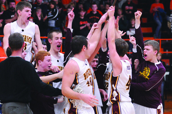 Dieterich Movin' Maroons celebrate after winning the 78th Annual National Trail Conference tournament after defeating Altamont.