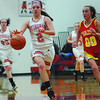 Effingham's Kelli Utz dribbles the ball upcourt while being defended by Charleston's Dallas Banning.