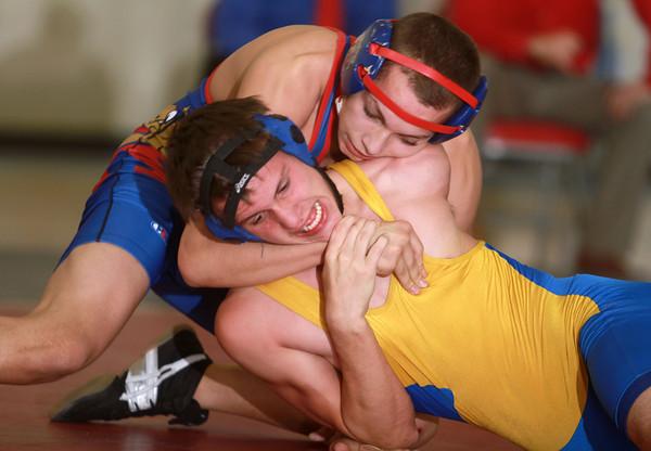 1-15-14<br /> Kokomo vs. Tri Central wrestling<br /> Kokomo's Schzantrayle Roberson and Tri Central's Nate Wyant<br /> KT photo | Kelly Lafferty