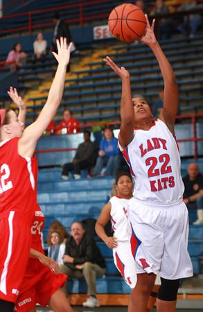 1-11-14<br /> Kokomo High School girls basketball<br /> Kokomo's Alanis Jones shoots.<br /> KT photo | Kelly Lafferty