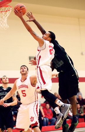 1-8-14<br /> IUK bball vs. SIU<br /> IUK's Jerome Campbell makes his way to basket.<br /> KT photo | Kelly Lafferty