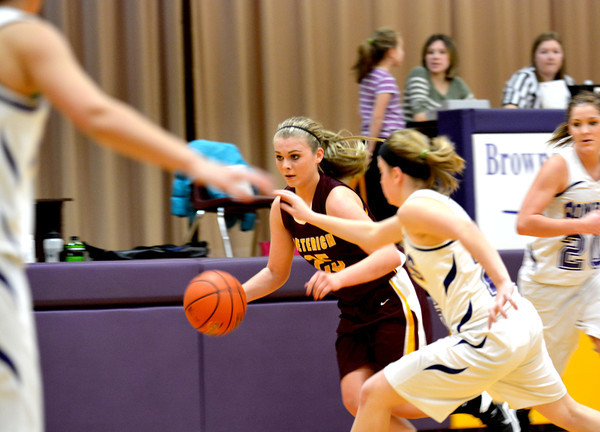 Dieterich's Mallorie Vahling dribbles out of a trap near half court.