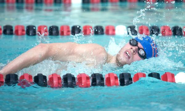 1-10-15<br /> KHS vs WHS swimming<br /> Kokomo's Blake Brookshire in the Boys 200 Yard Freestyle<br /> Kelly Lafferty Gerber | Kokomo Tribune