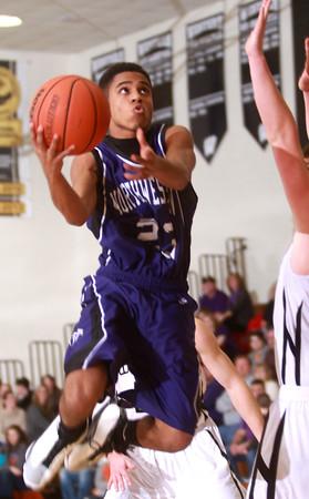 1-17-14 Northwestern vs Western county tournament championship Northwestern's Keron Hullum goes to the basket. Kelly Lafferty Gerber   Kokomo Tribune