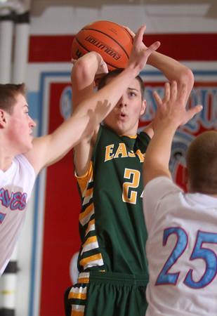 1-27-15<br /> Eastern vs Maconaquah basketball<br /> Eastern's Brady Zirkle shoots.<br /> Kelly Lafferty Gerber | Kokomo Tribune