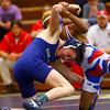Kokomo's Jabin Wright against Oak Hill's Travis Davenport in the 113 weight class in the wrestling sectionals on Saturday Jan. 31, 2015.<br /> Tim Bath | Kokomo Tribune