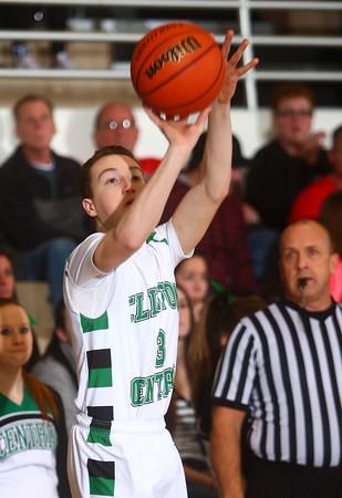 1-2-15<br /> Clinton Central vs Carroll basketball<br /> Clinton Central's Brandon Eimen goes for a three pointer.<br /> Kelly Lafferty Gerber | Kokomo Tribune