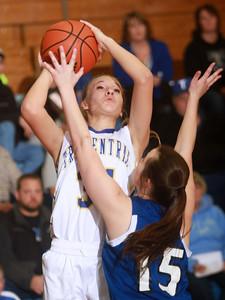 1-21-15 Tri Central vs Tipton basketball Tri Central's Emily Richard shoots. Kelly Lafferty Gerber | Kokomo Tribune