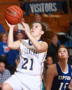 1-21-15 Tri Central vs Tipton basketball Tri Central's Kelli Kingseed goes for the basket. Kelly Lafferty Gerber | Kokomo Tribune