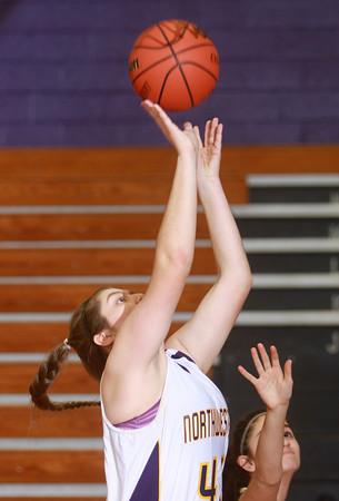 1-20-15<br /> Northwestern vs Peru basketball<br /> Northwestern's Brooke Treadway makes a shot.<br /> Kelly Lafferty Gerber | Kokomo Tribune