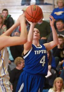 1-21-15 Tri Central vs Tipton basketball Tipton's Macie Lively goes for the basket. Kelly Lafferty Gerber   Kokomo Tribune