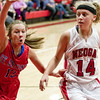 St. Anthony's Abby Weis tries to prevent the inbound pass to Neoga's EC Thies. Thies would score 24 points in the Indians' 54-47 loss.