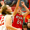 Effingham's Miranda Fox watches her shot fall during an Apollo Conference contest against Charleston.